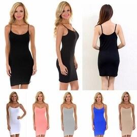 Womens Solid Camisole Beach Tank Dress Sundress