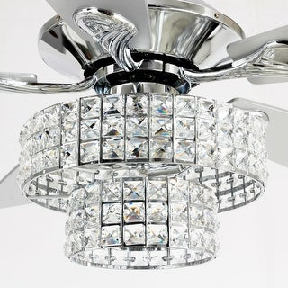 "52"" Chrome 5-Blade Crystal Chandelier Ceiling Fan with Remote"