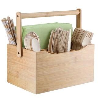 "SleekDine Bamboo Cutlery Caddy & 6 Bamboo Utensils Set - 8.5""x 6""x 4.5"""