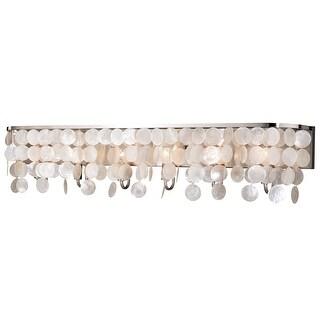 Elsa 6 Light Satin Nickel Capiz Shell Coastal Bathroom Vanity Fixture - 42-in W x 9-in H x 5.5-in D