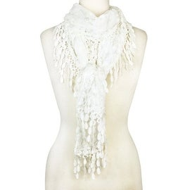 Women's Fancy Sheer Lace Scarf With Fringe Drops White Color