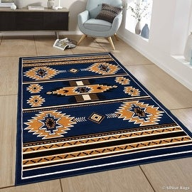 "Allstar Blue Woven High Quality Rug. Traditional. Persian. Flower. Western. Design Area Rug (3' 9"" x 5' 1"")"