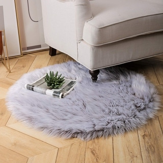 Ultra Soft Fluffy Bedroom Floor Sofa Living Room Gray Round 3 x 3 Feet - Big