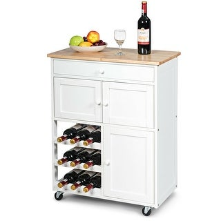 Gymax Modern Rolling Kitchen Cart Trolley Island Storage Cabinet