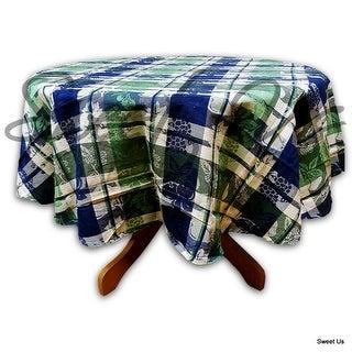 Blue Green Cotton Floral Plaid Jacquard Grapevine Tablecloth Rectangle Square Round & Towel