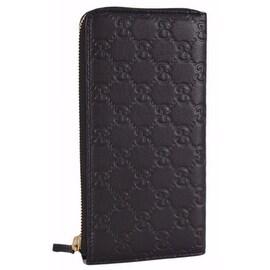 New Gucci Women's 332747 Black Leather GG Guccissima Zip Around Wallet Clutch