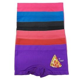 Girl's 6 Pack Seamless Pizza Print Underwear Boyshorts Panties