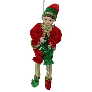 "12"" Red and Green Bendable Elf in a Suit Hanging Christmas Ornament"