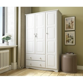 "Copper Grove Caddo Grand Solid Wood 3-door Wardrobe with Lock - 45.75""W x 72""H x 20.75""D"