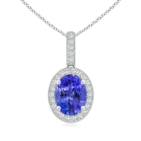 Vintage Oval Tanzanite Pendant Necklace with Diamond Halo in 14K White Gold(7mm Tanzanite)
