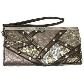 Studs Sequins Sparkling Wristlet Clutch Wallet Wrist Strap