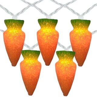 10-Count Orange Carrot Easter String Light Set, 7.25ft White Wire