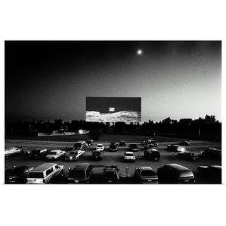 """Drive-in movie theatre, cars parked to view film, Minnesota, USA"" Poster Print"