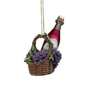 """4.5"""" Purple and Red Hanging Glass Wine Bottle Christmas Ornament"""