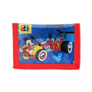 Disney Kid's Mickey Mouse Racecar Bifold Wallet with Hook and Loop Closure