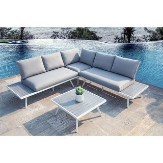 Glitzhome 4 Piece Outdoor Modern Aluminum Sectional Sofa Set