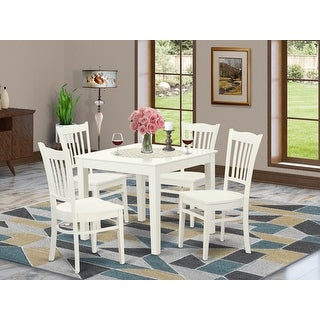 OXGR5-W 5 PC Oxford kitchen table and Four solid wood Dining Chairs in Linen White Finish
