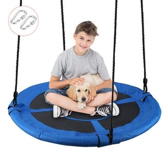 "40"" Waterproof Saucer Tree Swing Set, Indoor/Outdoor Round Kids Swing Seat 660lb Weight Capacity"