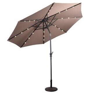 10FT Patio Solar Umbrella LED Patio Market Steel Tilt W/ Crank Outdoor New - Tan