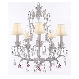White Wrought Iron Floral Chandelier with Purple Stars and Shades!