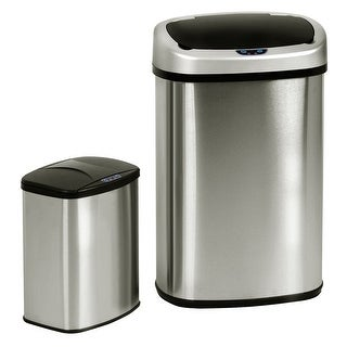 Costway Set of 2 Touch-Free Motion Sensor Bin Trash Can 13 & 2.3 Gallon Stainless Steel - as pic