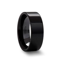 FRAENER Flat Polish Finished Black Ceramic Wedding Ring