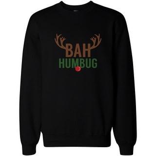 Bah Humbug Rudolph Christmas Sweatshirt X-mas Pullover Fleece Crewneck Sweater