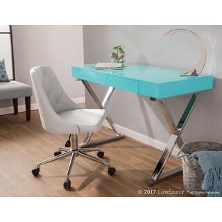 Porch & Den Skyline Woods Wood Top/ Chrome X-base 1-drawer Office Desk