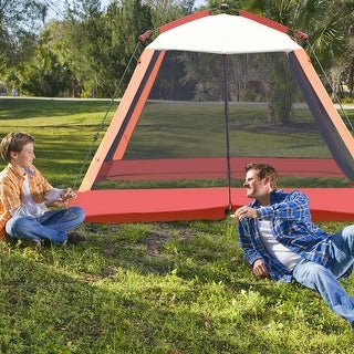 Gymax Portable 6 Person Automatic Pop Up Family Tent Easy Set-up Camping Hiking w/ Bag - Orange + Yellow + Black