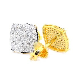 Big Diamond Earrings Mens 1/3cttw 10k Yellow Gold Pave Set Screw Back 9.5mm(I3 Clarity, 0.33cttw)