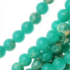 Impression Jasper Gemstone Beads, Round 4mm, 15 Inch Strand, Teal Green