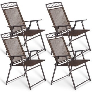 Costway Set of 4 Patio Folding Sling Chairs Steel Textilene Camping