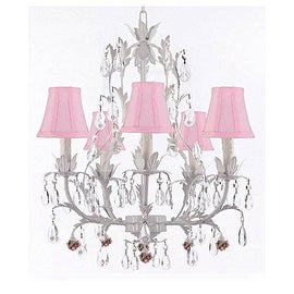 White Wrought Iron Floral Chandelier Lighting With Flowers and Shades!