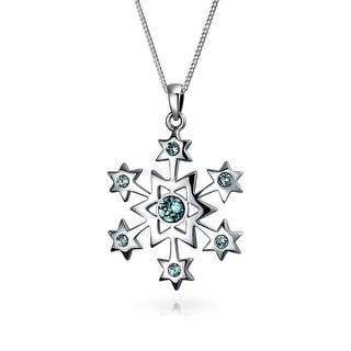 Snowflake Star Pendant Necklace Winter Blue Imitation Topaz Sterling