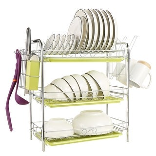 "3 Tier Chrome Dish Drainer Rack Kitchen Storage with Draining Board - 7'6"" x 9'6"""