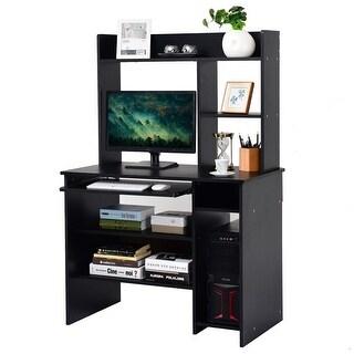 Gymax Computer Desk PC Laptop Study Table Bookcase Workstation