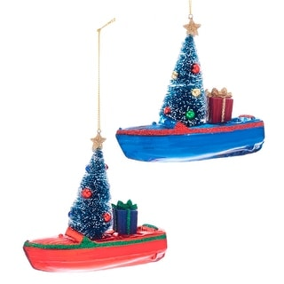 Kurt Adler Red and Blue Boats with Trees Holiday Ornaments Set of 2 Glass