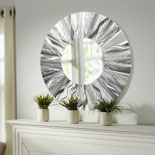 Statements2000 Silver Metal Decorative Wall-Mounted Mirror by Jon Allen - Mirror 105