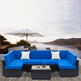 7pcs Outdoor Fashion Rattan Sofa Furniture Set Blue Back Cushion
