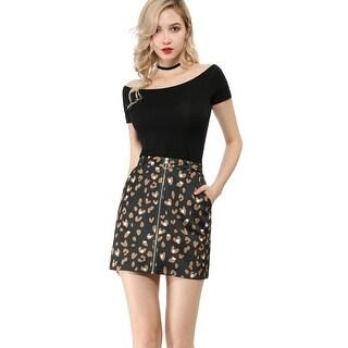 Women's Zip Front Elastic Waist Bodycon Mini Skirt
