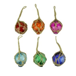 Colorful Mini Glass Fishing Float Nautical Ornaments Set of 6 - 2 X 2 X 2 inches