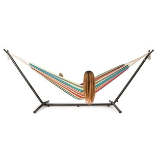 Belleze 10ft Double Hammock Stand with Carrying Case Kit, (Tropical) - standard