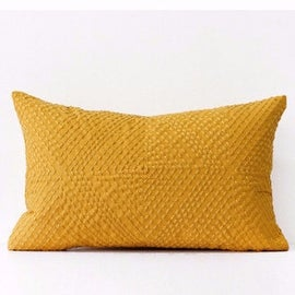 "Gentille Home Collection Luxury Yellow Diamond Embroidered Pillow 12""X20"""