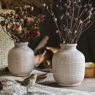 RusticReach White Textured Porcelain Ceramic Jar Vase