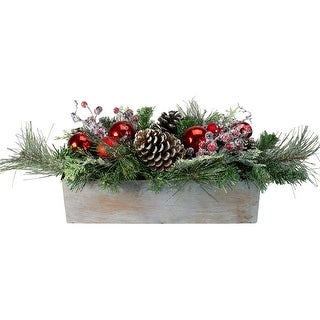 """26"""" Mixed Pine, Ornament, Pine Cone and Berry Artificial Christmas Arrangement in Galvanized Planter"""