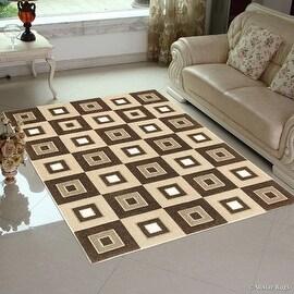 "Allstar Brown Modern Geometric square design Area Rug (3' 9"" x 5' 1"")"
