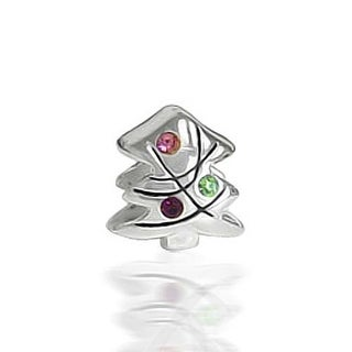 Holiday Christmas Tree Colorful CZ Charm Bead 925 Sterling Silver