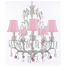 White Wrought Iron Floral Chandelier Lighting with Purple Stars and Shades!