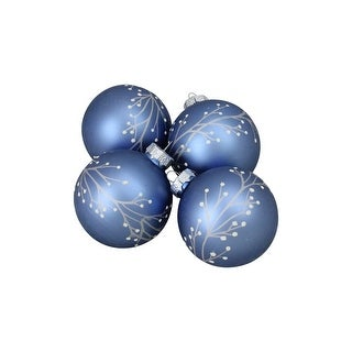 """4ct Slate Blue Tree Branch with Flower Buds Matte Finish Glass Christmas Ornament Ball Set 2.75"""" (70mm)"""