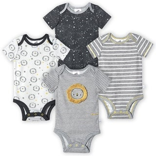 Just Born® Baby Boys' 4-Pack Organic Short Sleeve Lil' Lion Bodysuits